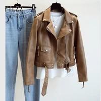 new women leather coat spring autumn long sleeved with belt faux leather jacket female punk outwear ladies biker moto outwear