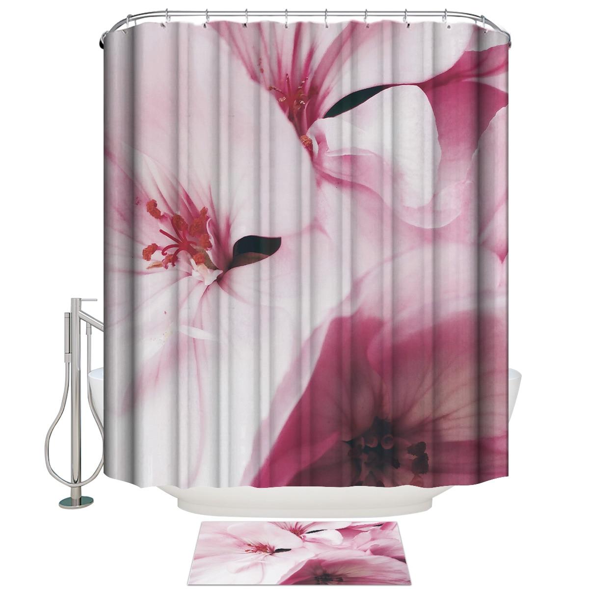 Close-up de pétalas rosa cortina de chuveiro conjunto de tecido impermeável