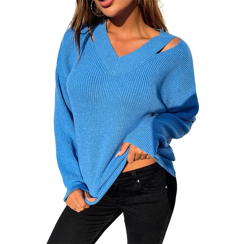 Женский вязаный свитер на осень и зиму, свитер, Женский однотонный пуловер с V-образным вырезом, свитер, городской Повседневный Топ