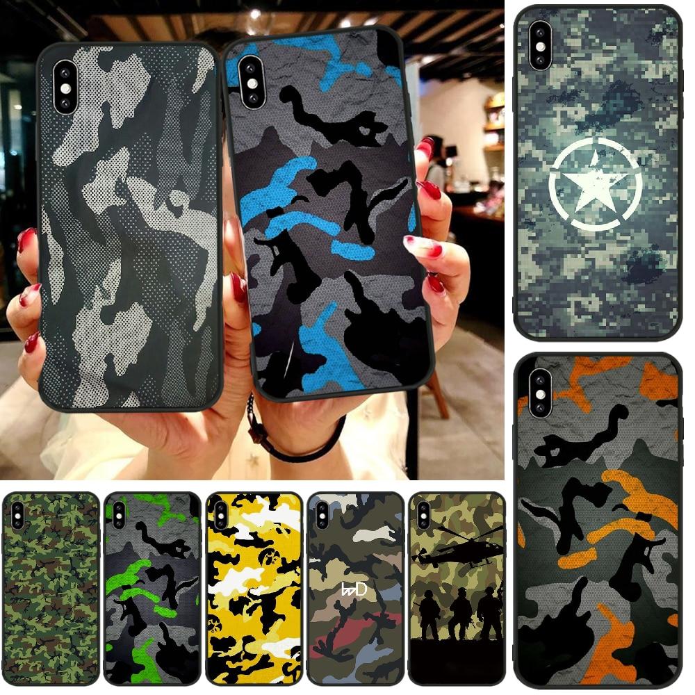 BaweiTE camuflaje militar DIY pintado Bling funda de teléfono para iphone6 6s plus 7 8 7 8 plus X XR XS MAX 11 Pro Max cubierta