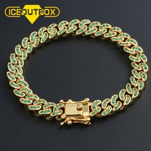 New Arrival Luxury Crystal CZ Triple Lock Bracelet Colorful Rhinestone Cuban Link Bracelet Men Hip Hop Jewlery Drop Shipping