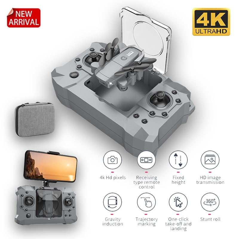 2021 New KY905 Mini Drone 4K 1080P HD Camera WiFi Fpv Air Pressure Altitude Hold Gray Foldable Quadcopter RC Dron Kid's Toy