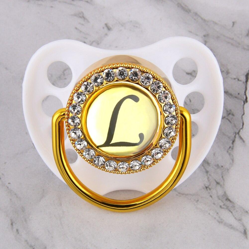 Роскошная блестящая кристальная белая Соска с 26 буквами, доступны Стразы ручной работы, Детская Соска-пустышка оптом