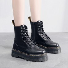 Martens Boots Women Shoes 2021 New Black Leather Ankle Boots Women Punk Shoes Thick Bottom Platform