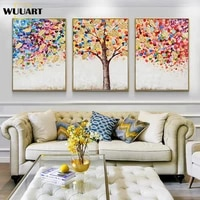 high quality 3pieces abstract oil painting hand painted on canvas money trees handmade modern colorful paintings set on the wall