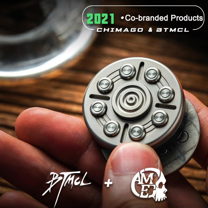 MUYI Titanium Zirconium Alloy Pop Coin Push Button EDC Fingertip Gyro Decompression Toy