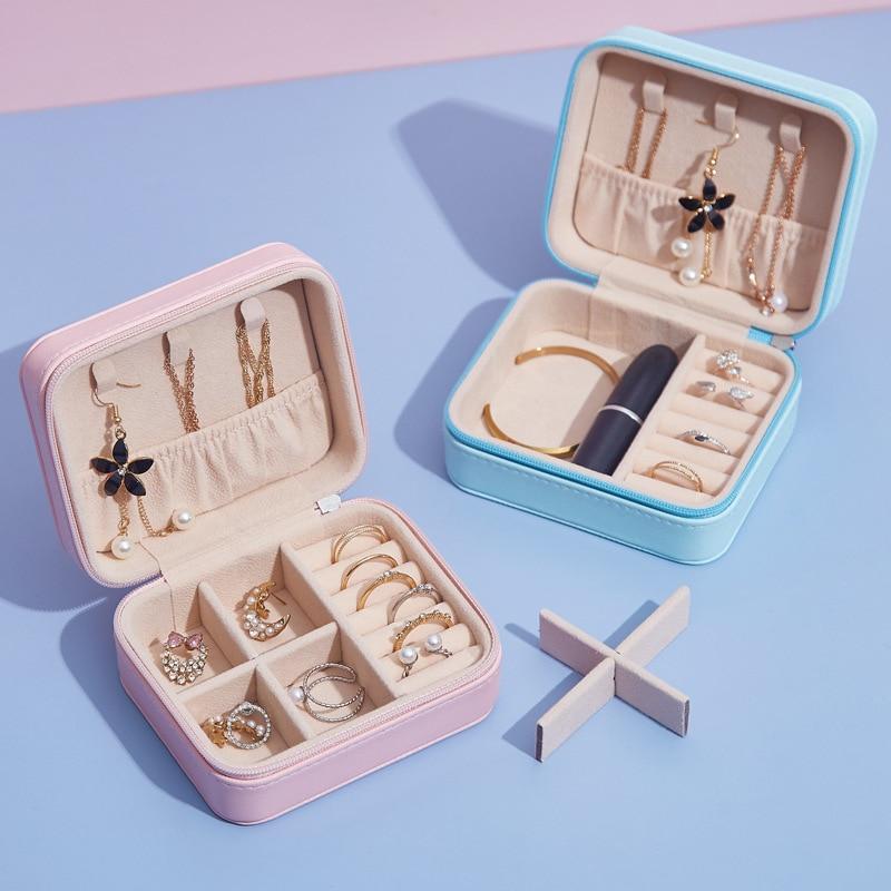 Caja de cuero PU Doreen joyero caja almacenamiento redonda expositor de anillo rosa para mujer organizador de joyas portátil para pendientes, 1 ud.