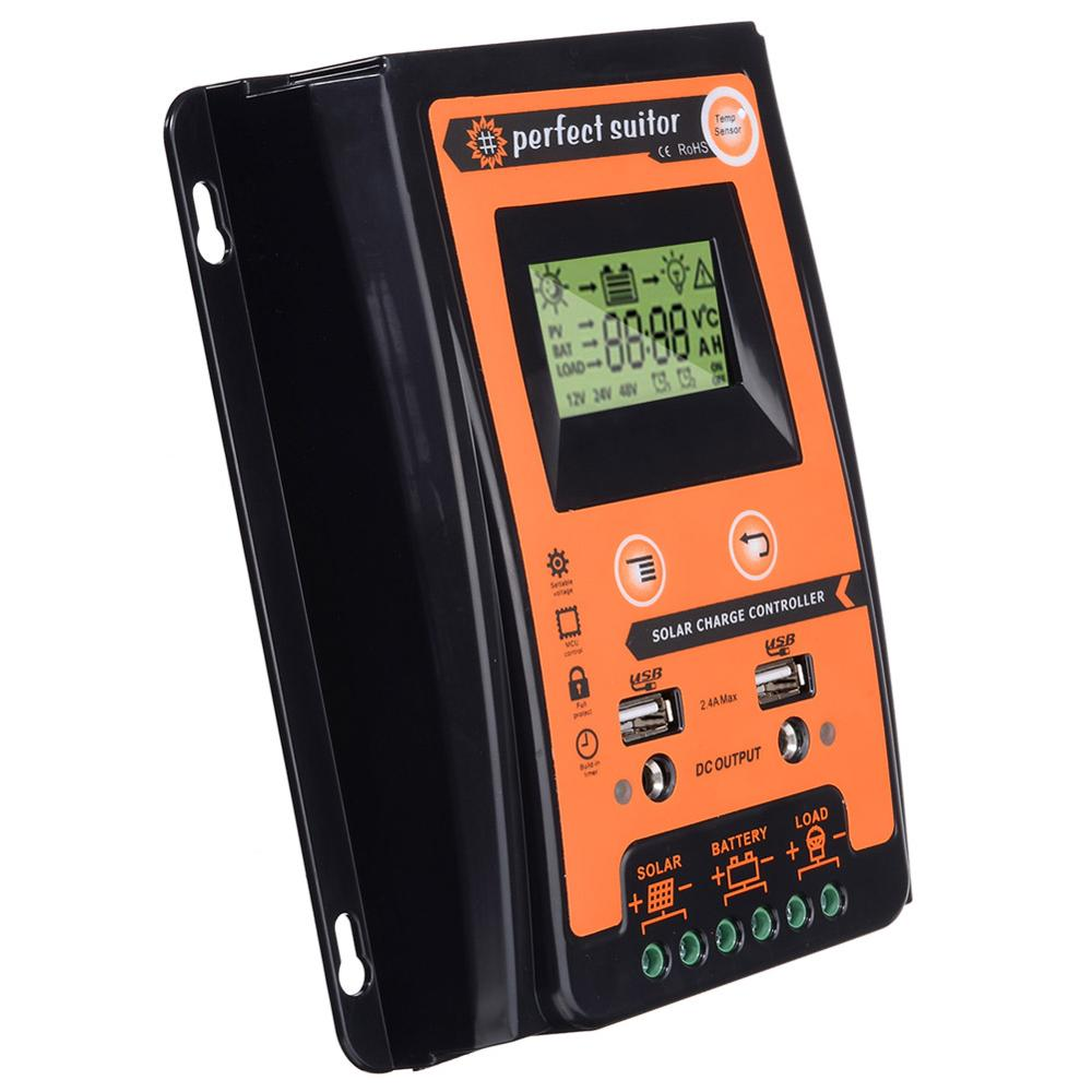 12 فولت 24 فولت 70A PWM ذكي الشمسية جهاز التحكم في الشحن منظم شاشة الكريستال السائل USB الناتج ل بطارية ليثيوم و الرصاص الحمضية