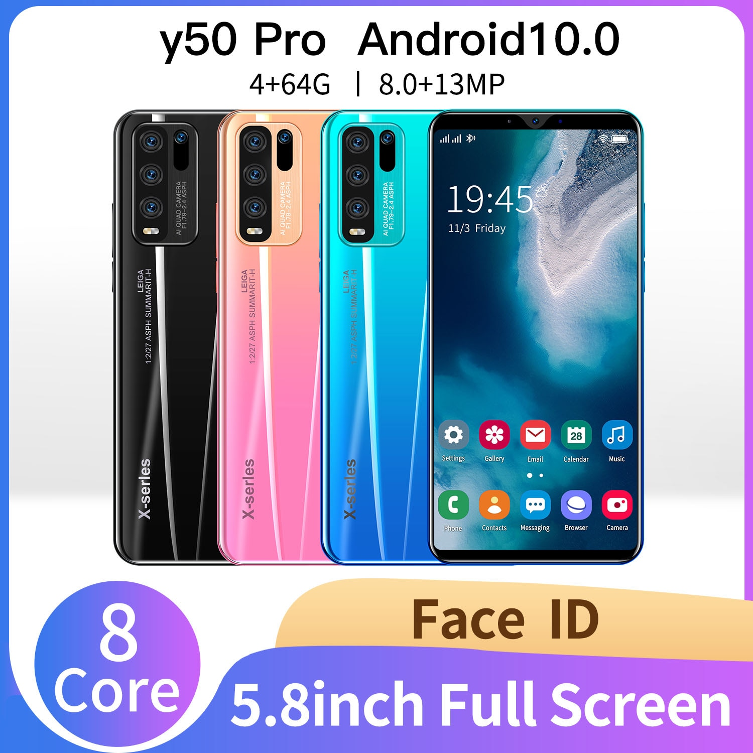 5.8inch Y50 Pro 4GB 64GB 8MP+13MP 5g Cellphones Smartphones Android 10 4800mAh 8Core Really Telephone MTK6889