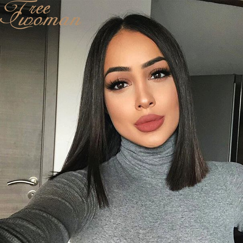 FREEWOMAN Short Black Straight Wig for Black Women Natural Hairline Synthetic Middle Part Wig Heat Resistant Natural Looking