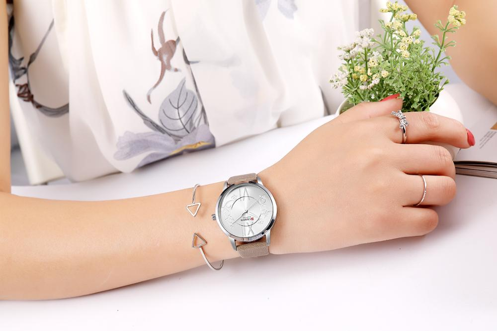 CURREN Top Brand Woman Watch 2019 Simple Casual Style Quartz Watches Leather Strap Waterproof Ultra-Thin Ladies Wrist Watch enlarge