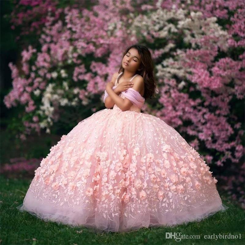 Vestido de baile de flores para niña, vestidos sin hombros de encaje para chicas, vestido de desfile, ropa Formal para niños vestidos de primera comunión, ropa de fiesta