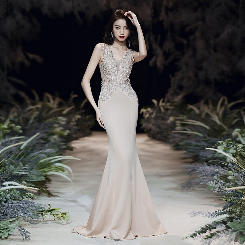 elegant evening dress 2020 new stylish queen banquet party dress sexy v-neck appliques flower mermai