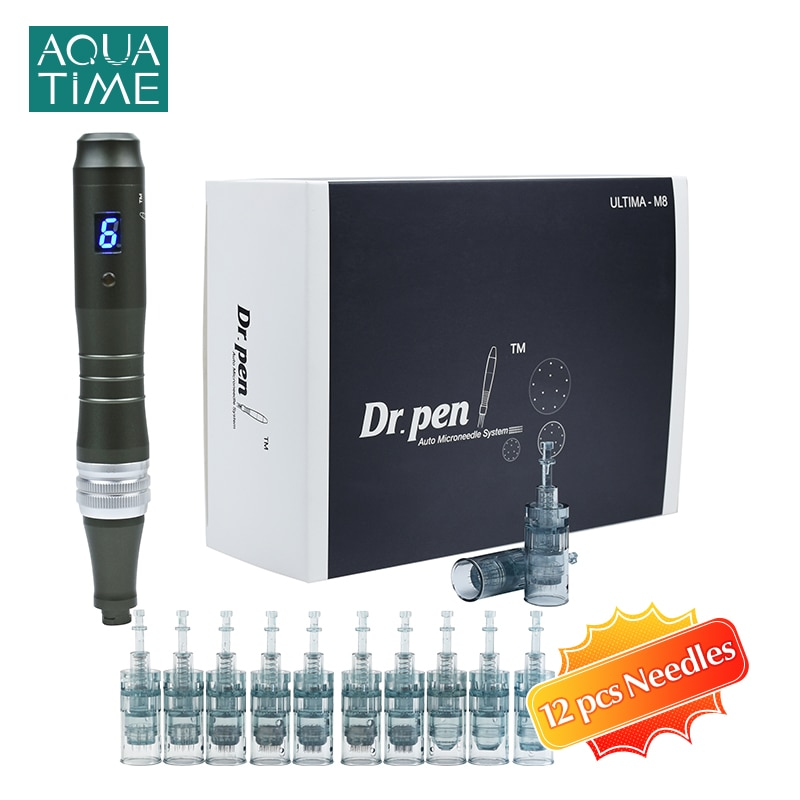 Dr Pen Ultima M8 with 12 Pcs Needle Cartridges Derma Pen Kit Professional Microneeding Beauty Skin Care Machine with LCD Screen
