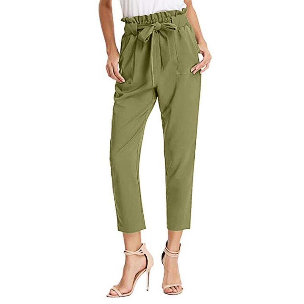 Pantalones Cargo de cintura alta para mujer, pantalones bombachos ligeros, pantalones casuales para mujer, pantalones formales con cordones Palazzo Bow, pantalones de oficina elegantes