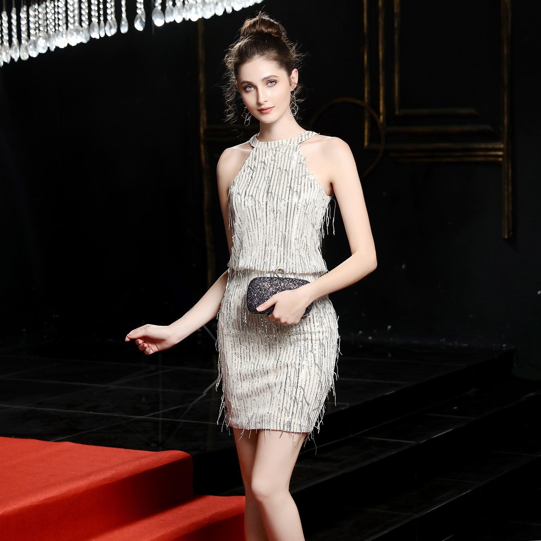 elegant The banquet Short Evening Dress Sequins Hang a neck Formal Evening Party Dresses fashion Evening gown