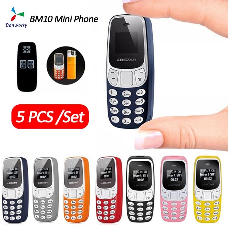 5Pcs/Set Super Small Mini Mobile Phone BM10 Dual Sim Card With MP3 Player Unlocked Voice Change Bluetooth Compact Phone