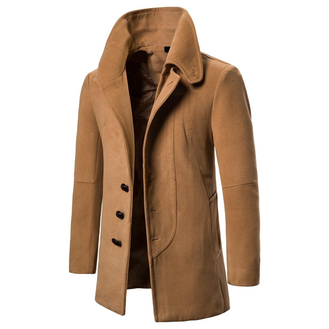 YF25 nueva ropa de invierno a la moda chaqueta de abrigo de lana con solapa de Camel para hombre