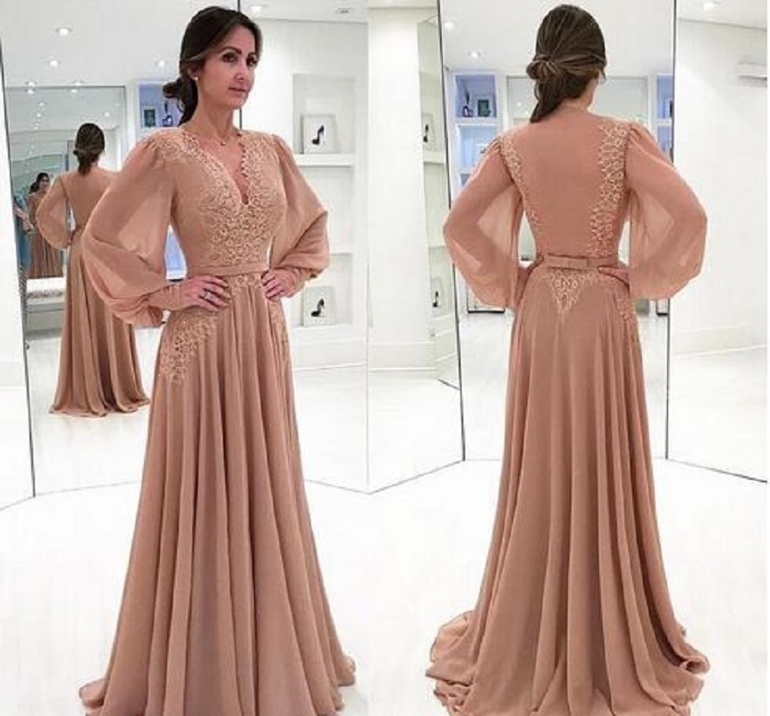 2021 Mother Of The Bride Dresses A Line V-neck Long Sleeves Chiffon Appliques Groom Long Mother Dresses For Wedding