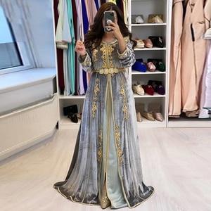 Gold Lace Abiye Gece Elbisesi Velvet Grey Moroccan Caftan Evening Dress Party Full Long Sleeves Dubai Formal Evening Gowns