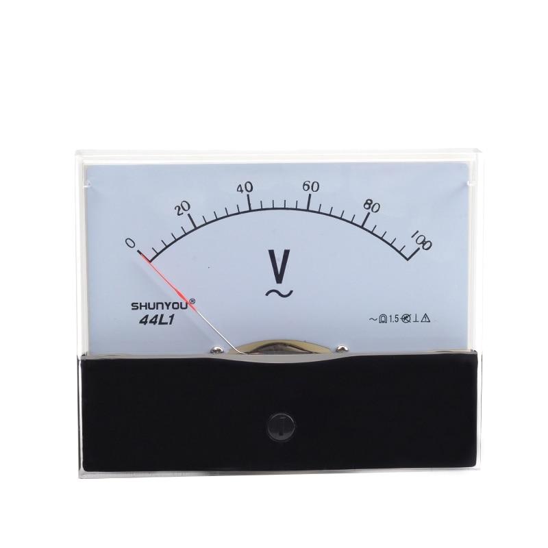 44L1 100V AC 0-100V Batterie Ladegerät Meter Rechteck Analog Panel Volt Meter
