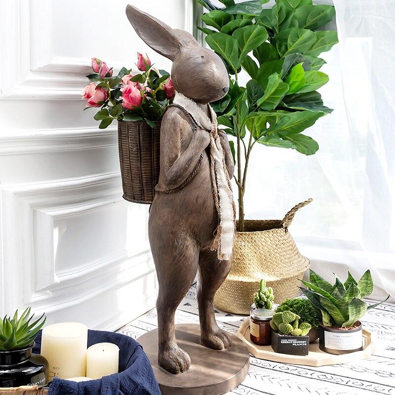 Caballero conejo llevar una cesta estatua artesanía hogar Sala decoración objetos Oficina resina accesorios de esculturas regalos