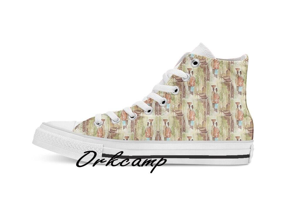 Donde la creación mantiene su propia serie étnica de tiempo lento personalizado Casual alto cordones de lona zapatos zapatillas Drop shipping