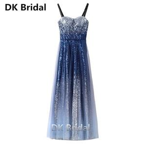 Gradient Dark Blue Evening Dresses Long A-Line Spaghetti Strap Floor Length Sequin Evening Dress Formal Party Gowns Vestidos
