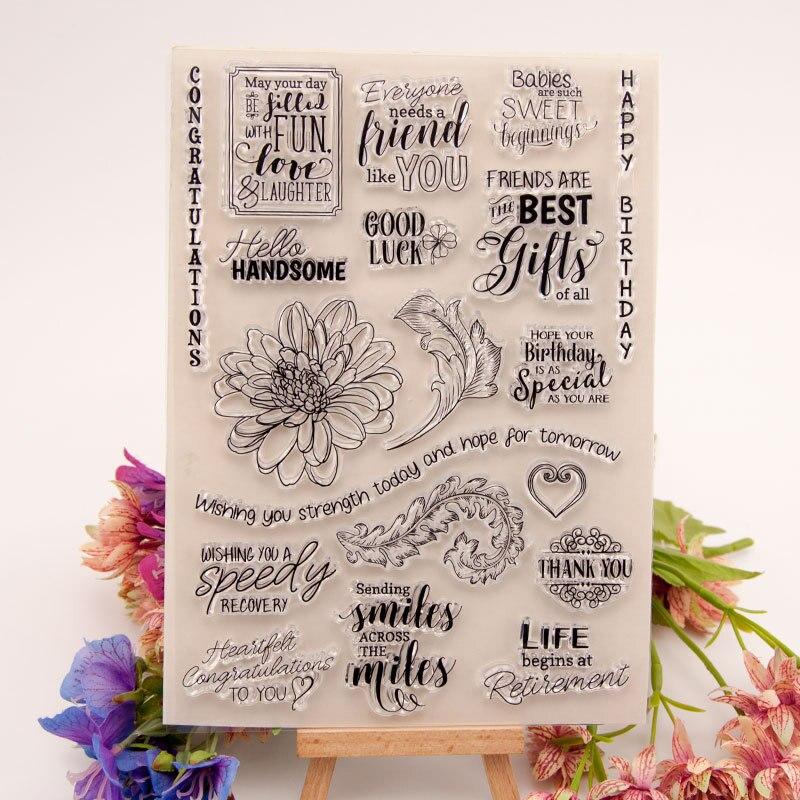 Joyeux anniversaire bonne chance meilleurs cadeaux fleurs feuilles caoutchouc Silicone tampons transparents pour Scrapbooking carte faisant la décoration et bricolage