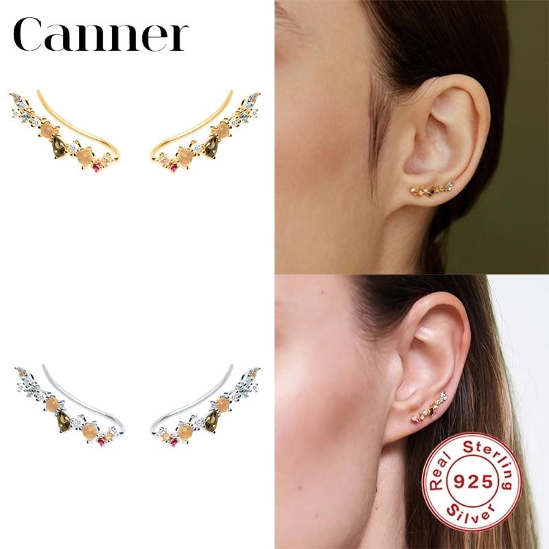 Canner 100% 925 Sterling Silver Stud Earrings For Women INS Geometric Earrings Fine Jewelry Korean Piercing pendientes 2020 W5 недорого