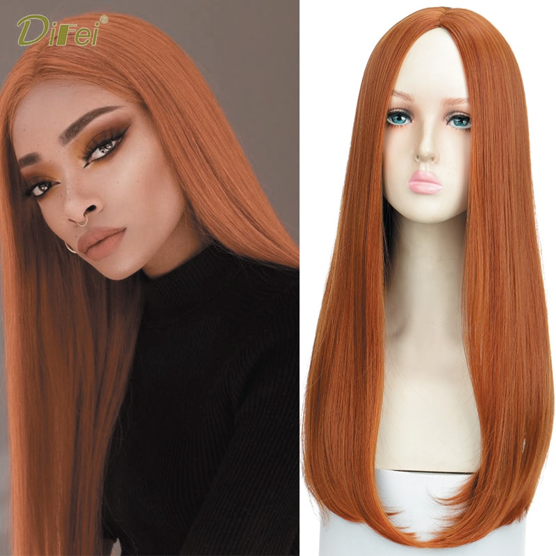 DIFEI 22 Inch Synthetic Orange Long Straight Wig Without Bangs Women's Daily Gathering Heat Resistant Wig