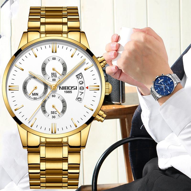 NIBOSI Mens Watches Fashion Top Brand Luxury Dress Watch Women Waterproof Business Wristwatch for Men Relogio Masculino
