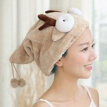 ZhangJi dessin animé bain cheveux casquette sèche velours mignon cheveux douche en peluche chapeau séchage serviette séchage rapide bouchon salle de bain serviette Super eau absorber
