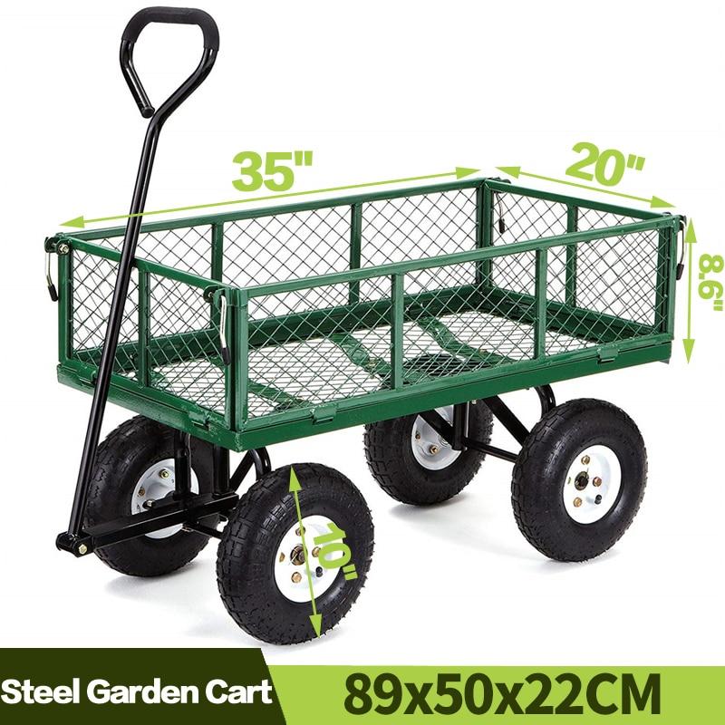 Chariots de jardin, chariot utilitaire pour pelouse, pelouse, pelouse, extérieur, robuste, en acier, paysage de plage
