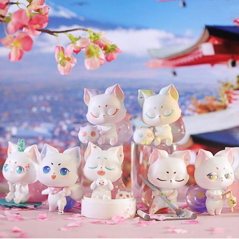 Blind Box Toys Figure Original Little Fox Cherry Series 8 Style Random Surprise Anime Model Guess PVC Figurine Doll 6Pcs/Set