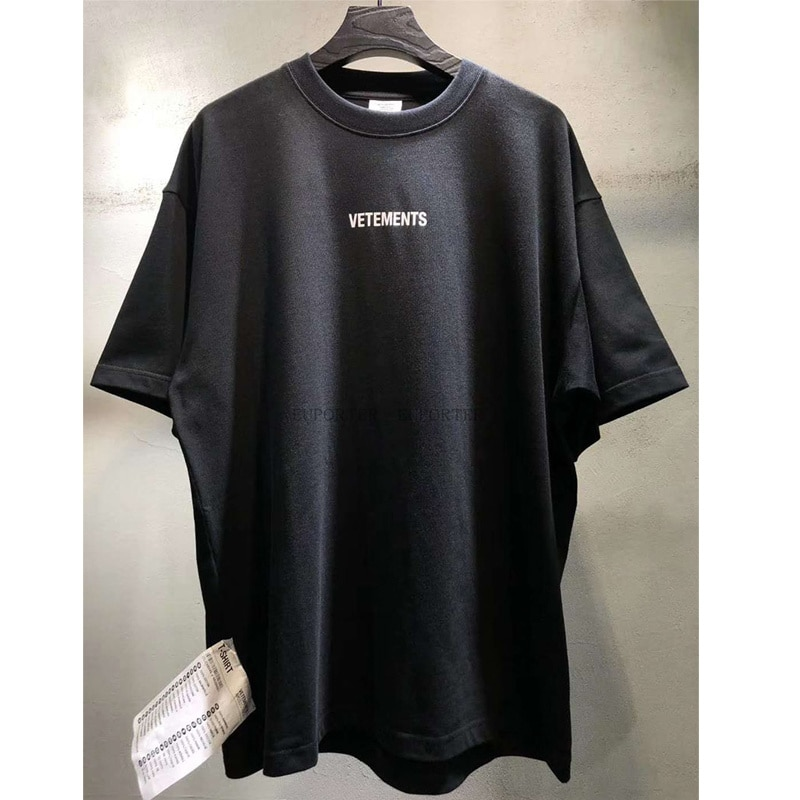 Streetwear Hip Hop Oversize Vetements Short Sleeve Tee Big Tag Patch VTM T-shirts Embroidery Black White Red Vetements T Shirt