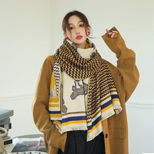 Cashmere Scarf Women 2021 Design Warm Pashmina Blanket Scarves Female Shawl Wraps Thick Foulard Bufa