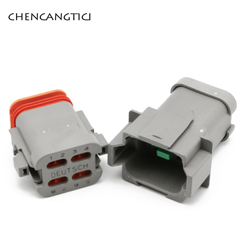 1 set 2 3 4 6 8 12 Pin Deutsch DT Waterproof Wire Connector Male Female Plug With Flat Tail Cover DT04-4P-E003 DT06-8S-E003  - buy with discount
