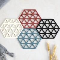 1pc tpe tableware insulation mat geometry coaster cup hexagon mats pad heat resistant tea coffee placemat home desktop decor