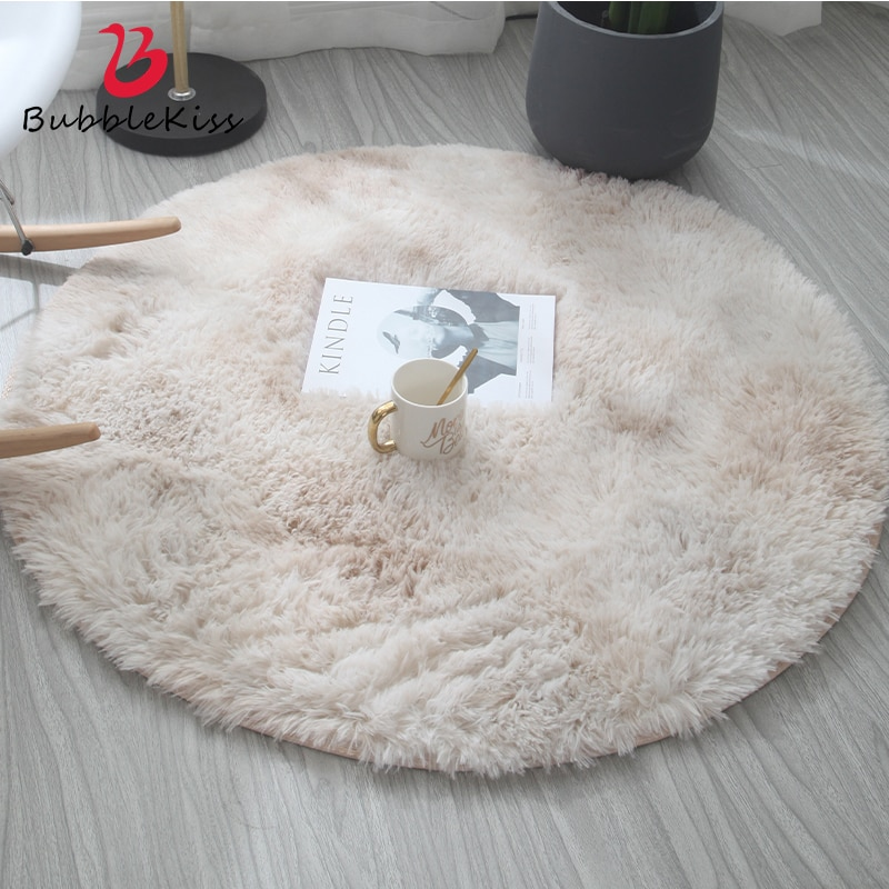 Bubble Kiss Fluffy Round Rug Carpets for Living Room Home Decor Bedroom Kid Room Floor Mat Decoration Salon Thicker Pile Rug