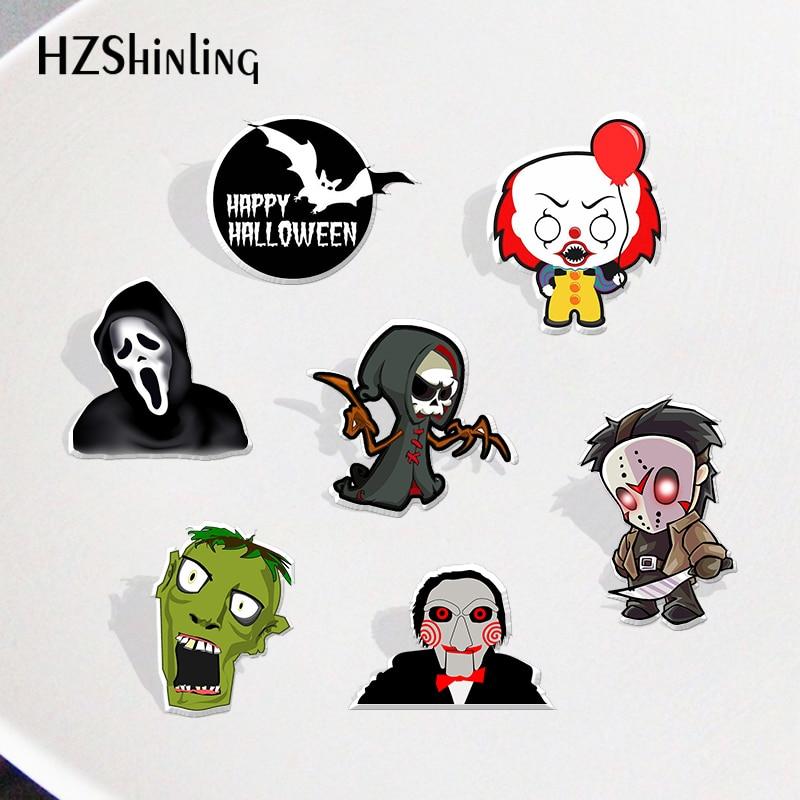 2020 Halloween Horror Killer Acryl Reversspeldjes Badge Shrinky Dinks Pins Hars Epoxy Sieraden Accessoires