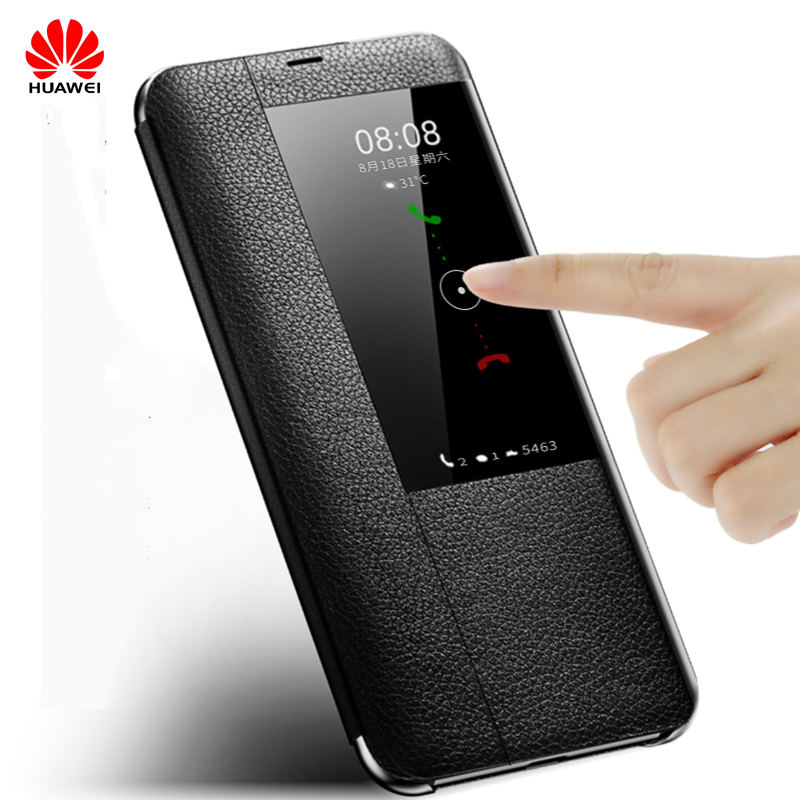 Huawei mate 20 pro oficial flip window Funda de cuero huawei p10 10plus P20 20Pro mate10 20 pro funda de teléfono móvil de negocios