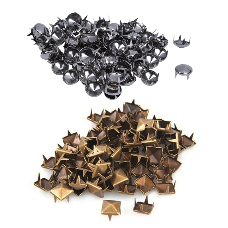 100x prata tom 10mm redondo pinos cônicos pontos punk rock nailheads pontos & 100x bronze 10mm pirâmide pregos pontos