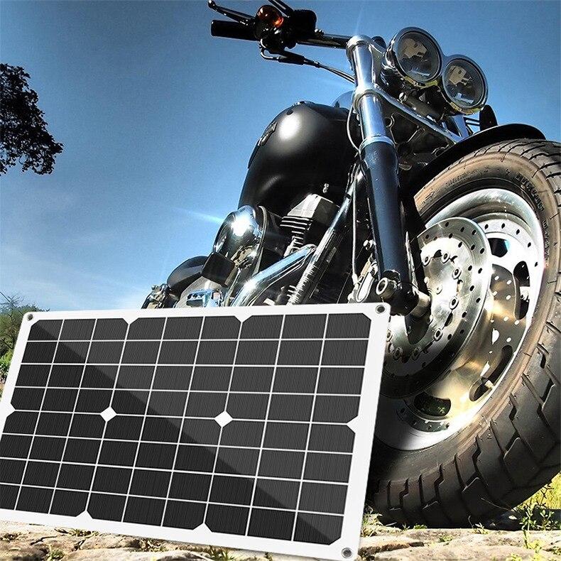 Panel Solar portátil de 18V 40W, doble placa de Banco de energía USB, batería externa, placa de célula Solar de carga, pinzas de cocodrilo, cargador de coche