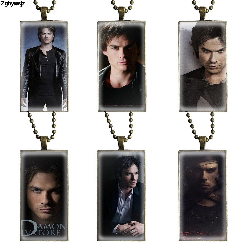 Ian Somerhalder Damon Salvatore In The Vampire Diaries Glass Pendant Necklace Handmade Half Pendant Rectangle Necklace