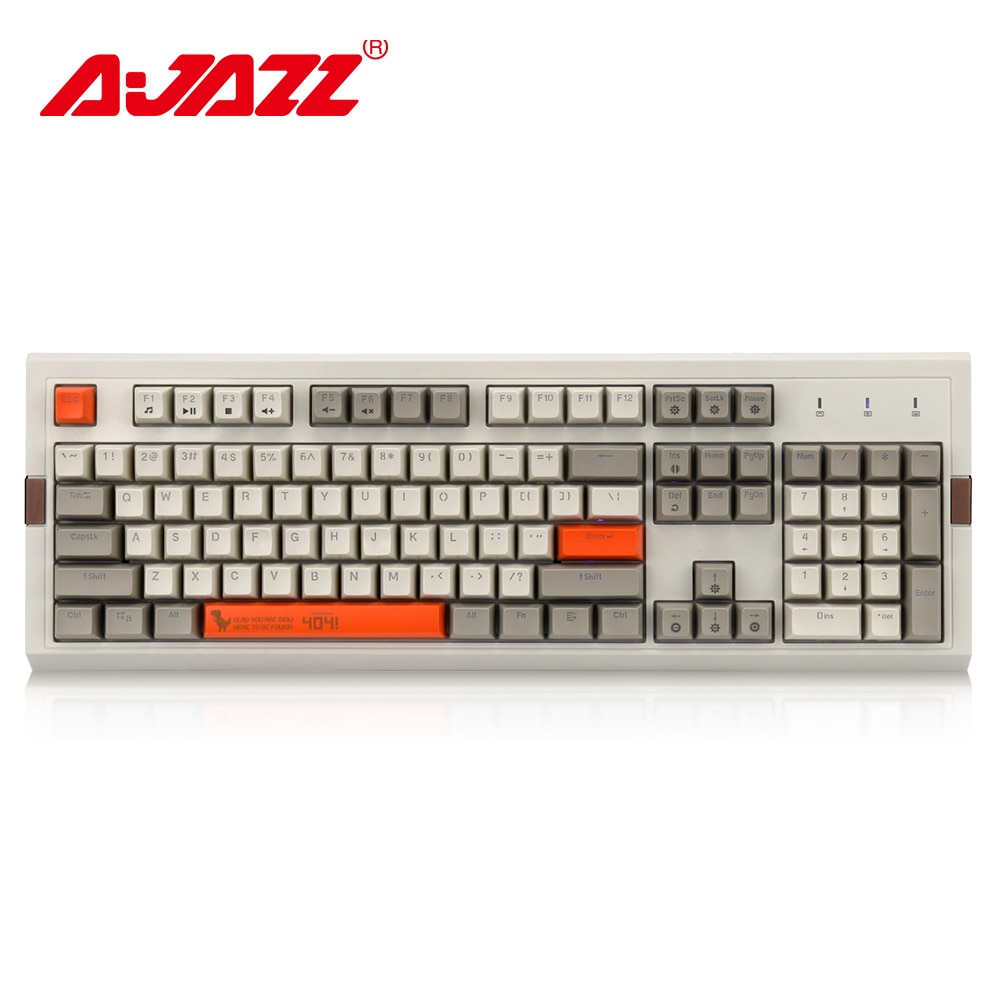 Ajazz-لوحة مفاتيح ألعاب ميكانيكية قديمة AK510 ، 104 مفتاح ، إضاءة خلفية RGB ، كابل ، لونين ، PBT ، غطاء كروي مريح