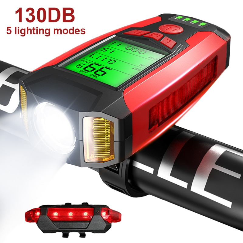 Bike Light Set with Speedometer USB Rechargeable Super Bright Front Headlight 5 Lighting Modes for Commuting and Road Cycling