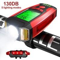 Велосипед светильник комплект со спидометром USB Перезаряжаемые супер яркий спереди головной светильник 5 светильник ing режимов для поездок ...