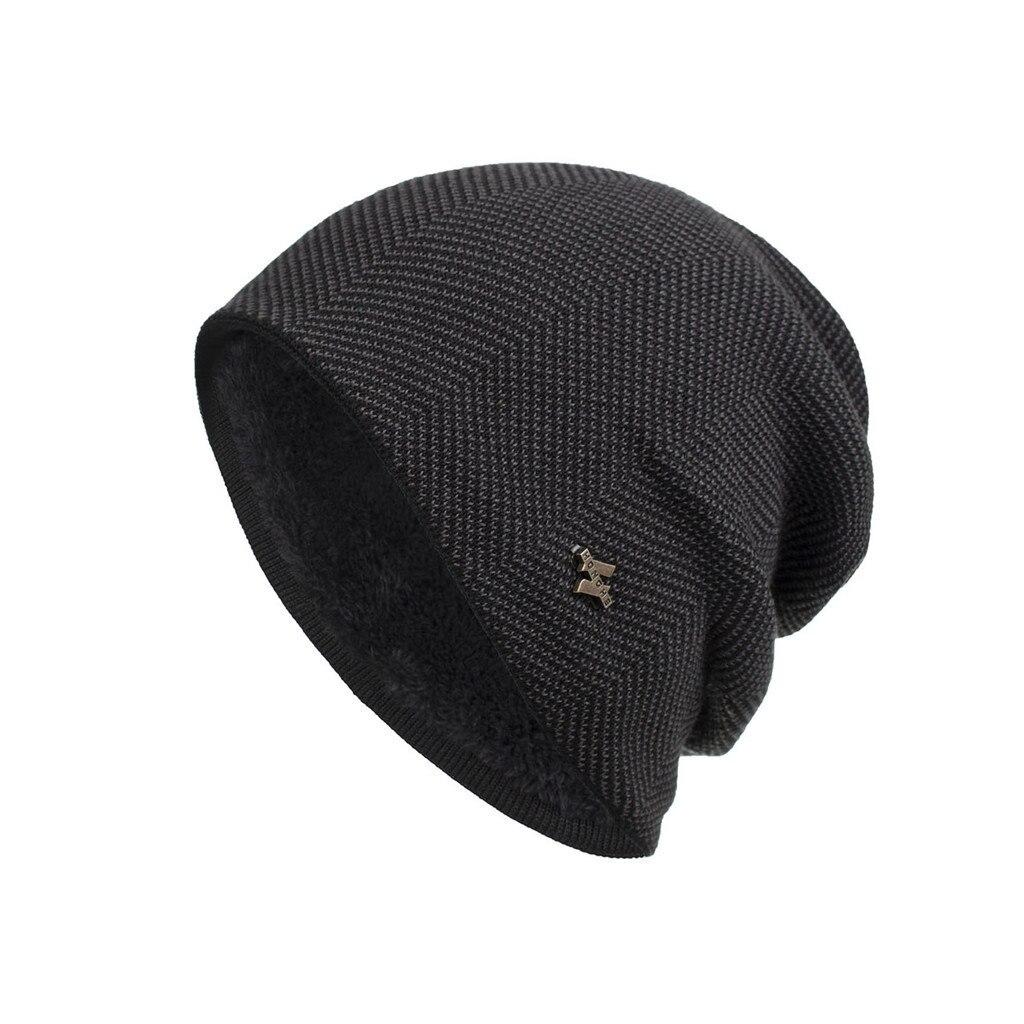 Мужская зимняя шапка, вязаные шерстяные шапки, мужские хип-хоп шапки capTurban Skullies Балаклава шапки для женщин gorros #3