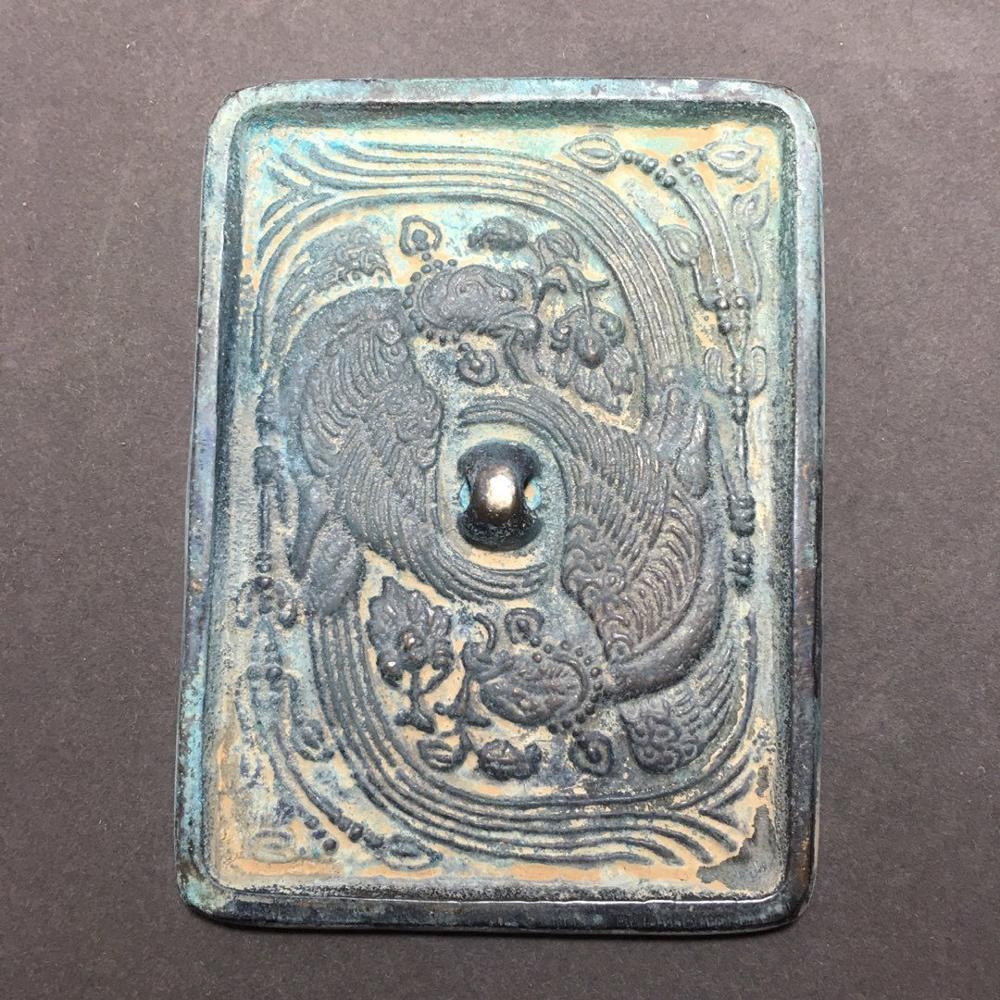 Espelho de Bronze Ornamento Requintado Antigo Phoenix Dobro